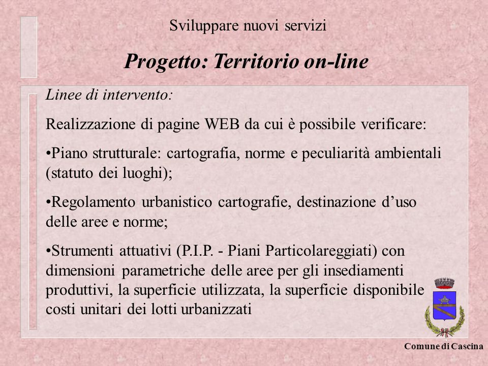 Progetto: Territorio on-line