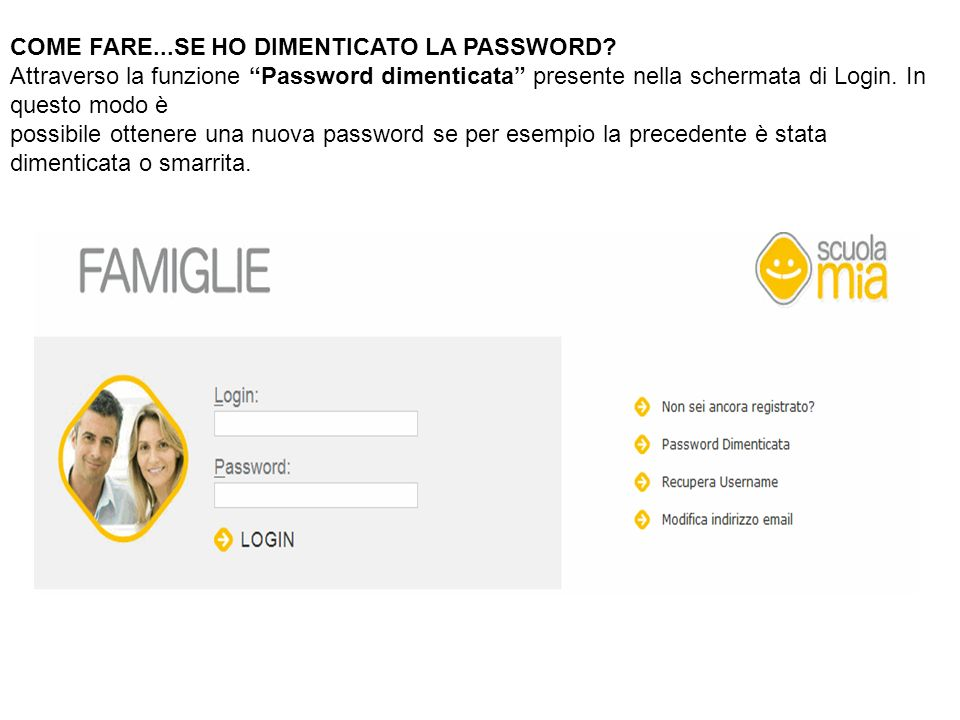 COME FARE...SE HO DIMENTICATO LA PASSWORD