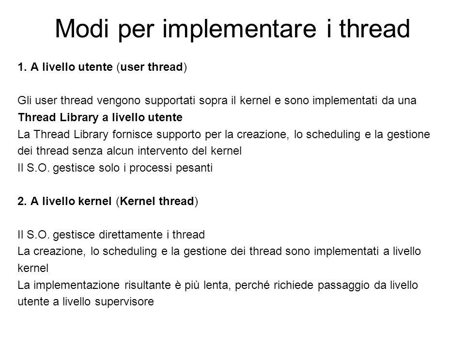 Modi per implementare i thread