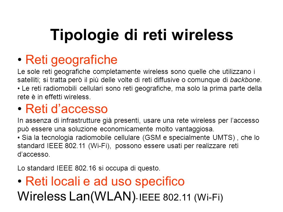 Tipologie di reti wireless