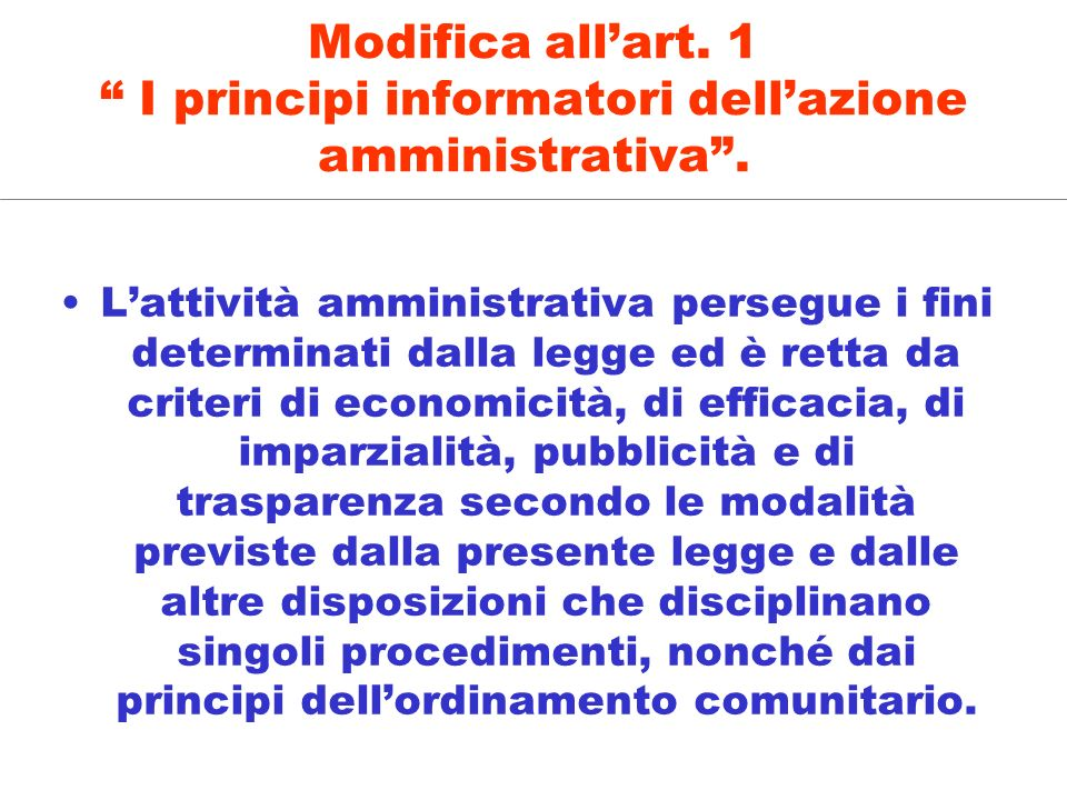 Modifica all'art. 1 I principi informatori dell'azione amministrativa .
