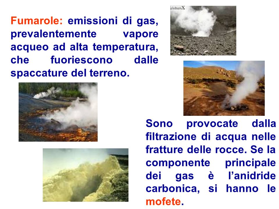 Fumarole: emissioni di gas, prevalentemente vapore acqueo ad alta temperatura, che fuoriescono dalle spaccature del terreno.