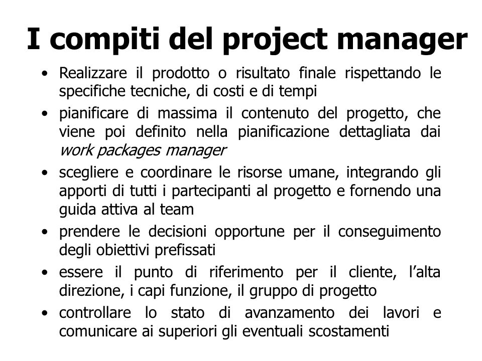 I compiti del project manager