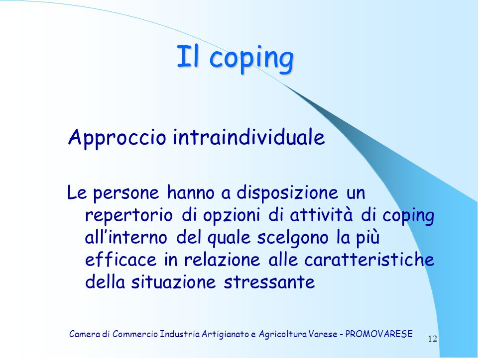 Il coping Approccio intraindividuale