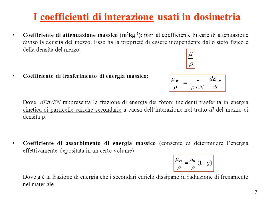 I coefficienti di interazione usati in dosimetria
