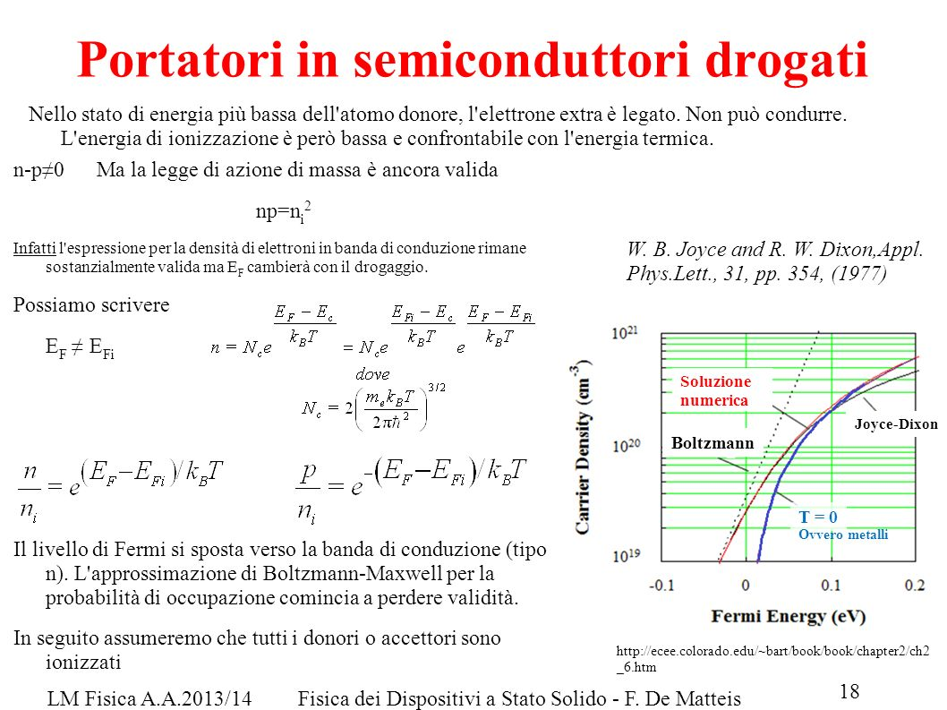 Portatori in semiconduttori drogati