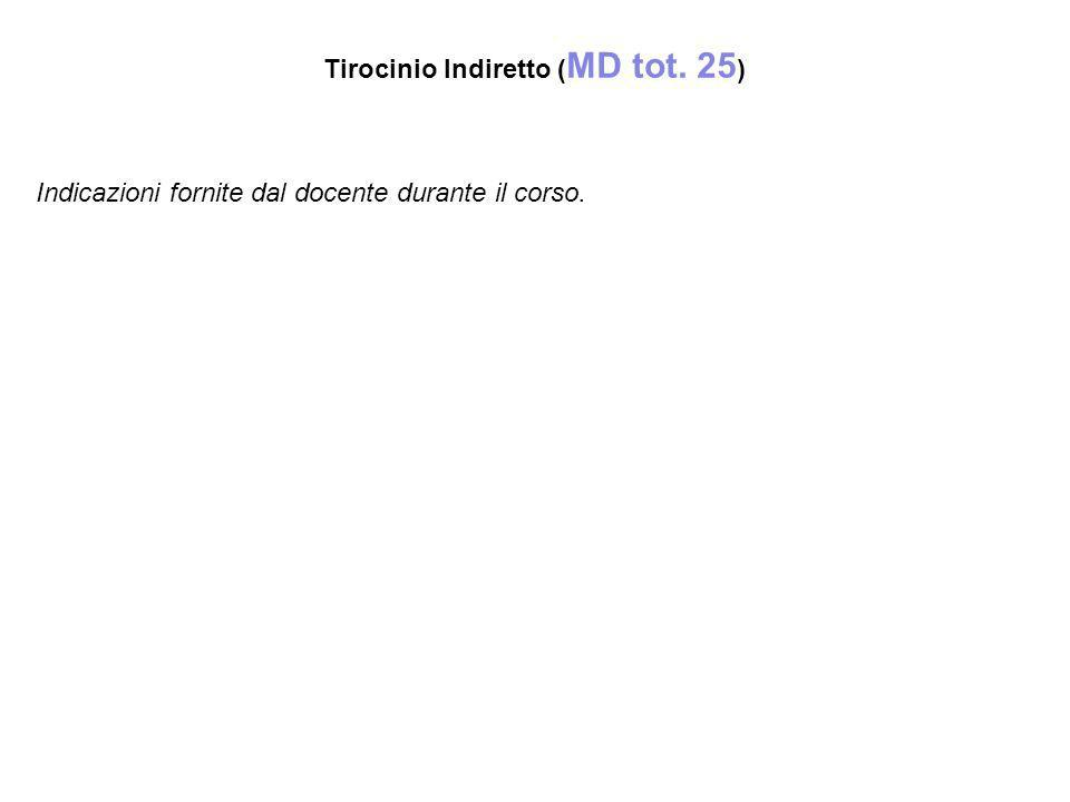 Tirocinio Indiretto (MD tot. 25)‏