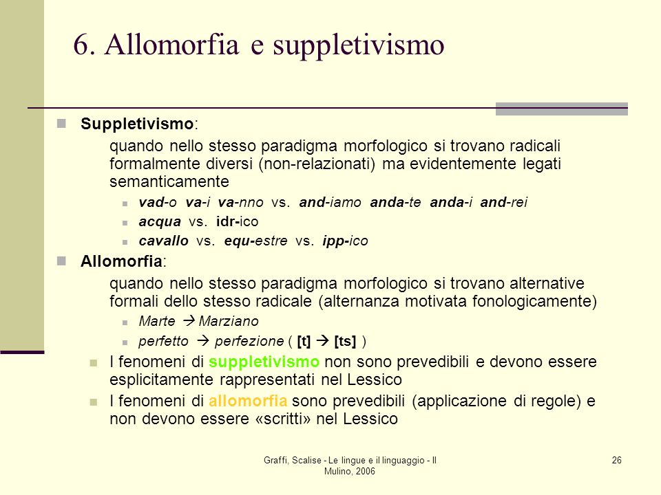 6. Allomorfia e suppletivismo