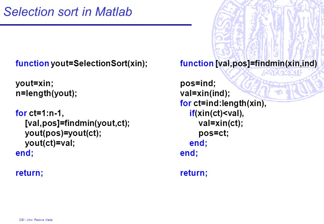 Selection sort in Matlab