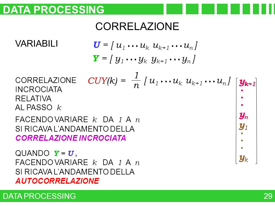 DATA PROCESSING CORRELAZIONE VARIABILI