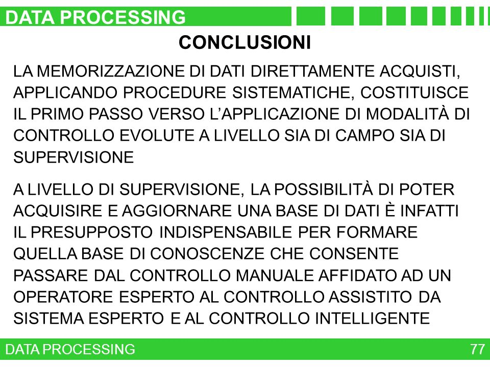 DATA PROCESSING CONCLUSIONI