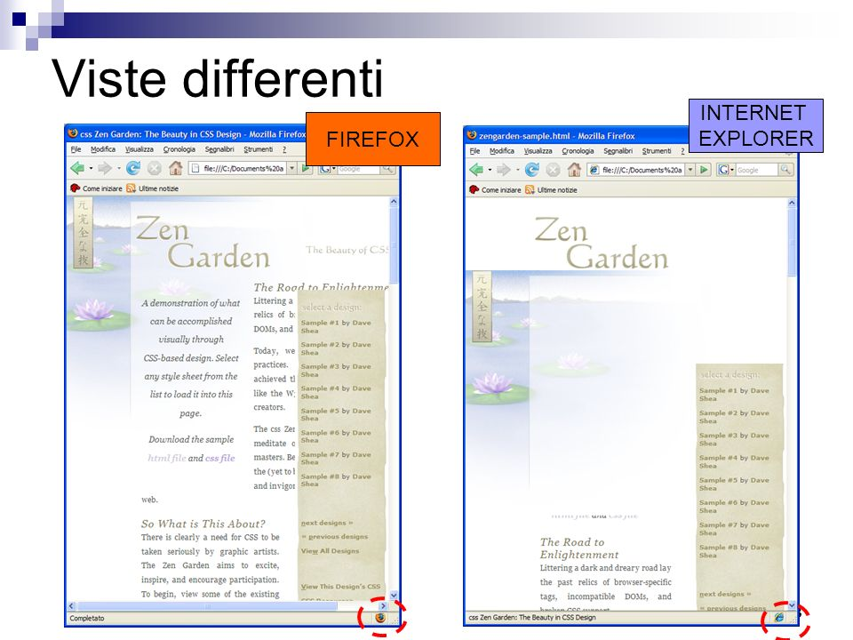 Viste differenti INTERNET EXPLORER FIREFOX