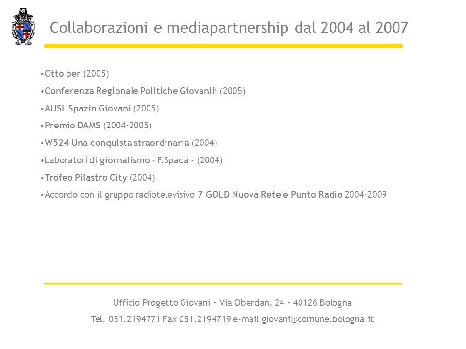 Collaborazioni e mediapartnership dal 2004 al 2007
