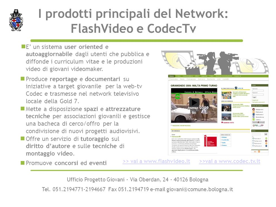 I prodotti principali del Network: FlashVideo e CodecTv