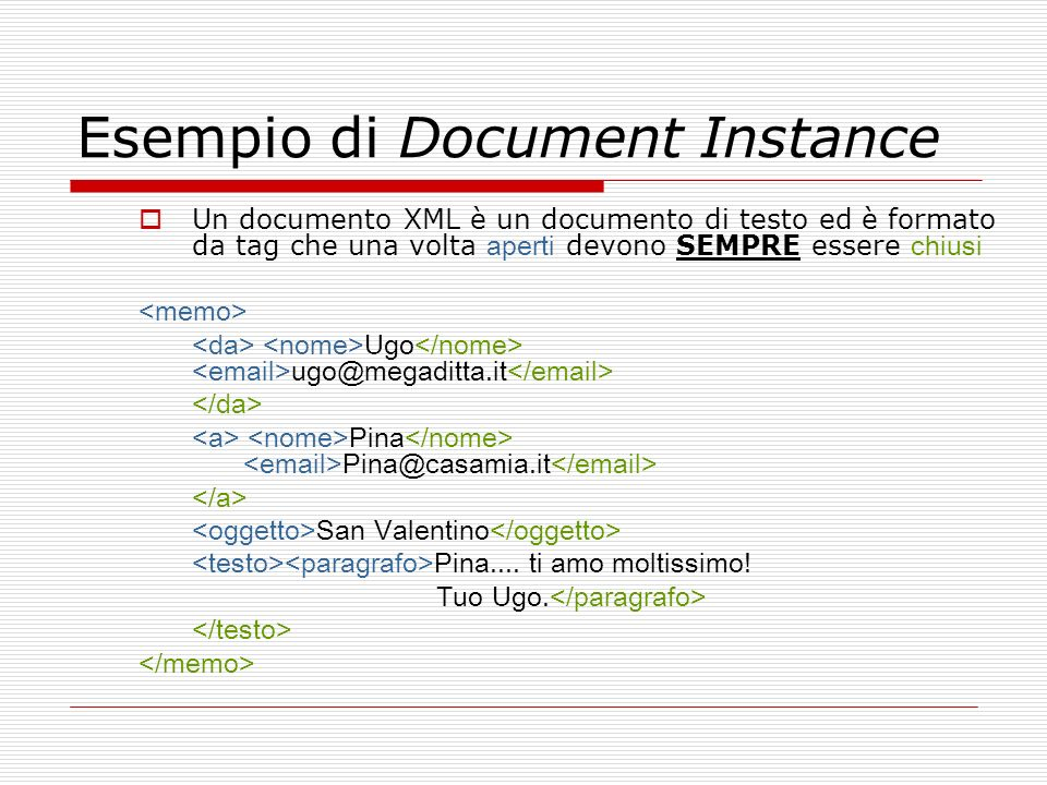 Esempio di Document Instance