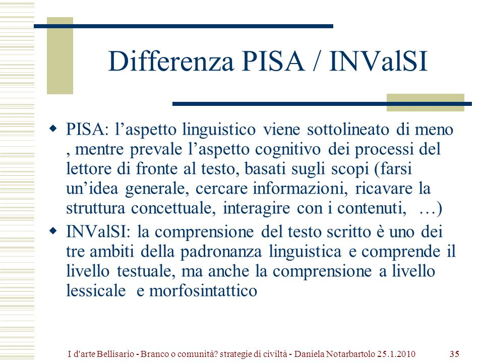 Differenza PISA / INValSI