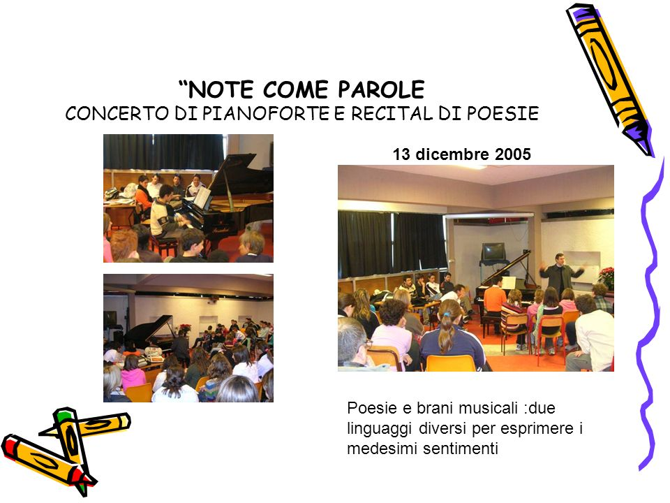 NOTE COME PAROLE CONCERTO DI PIANOFORTE E RECITAL DI POESIE