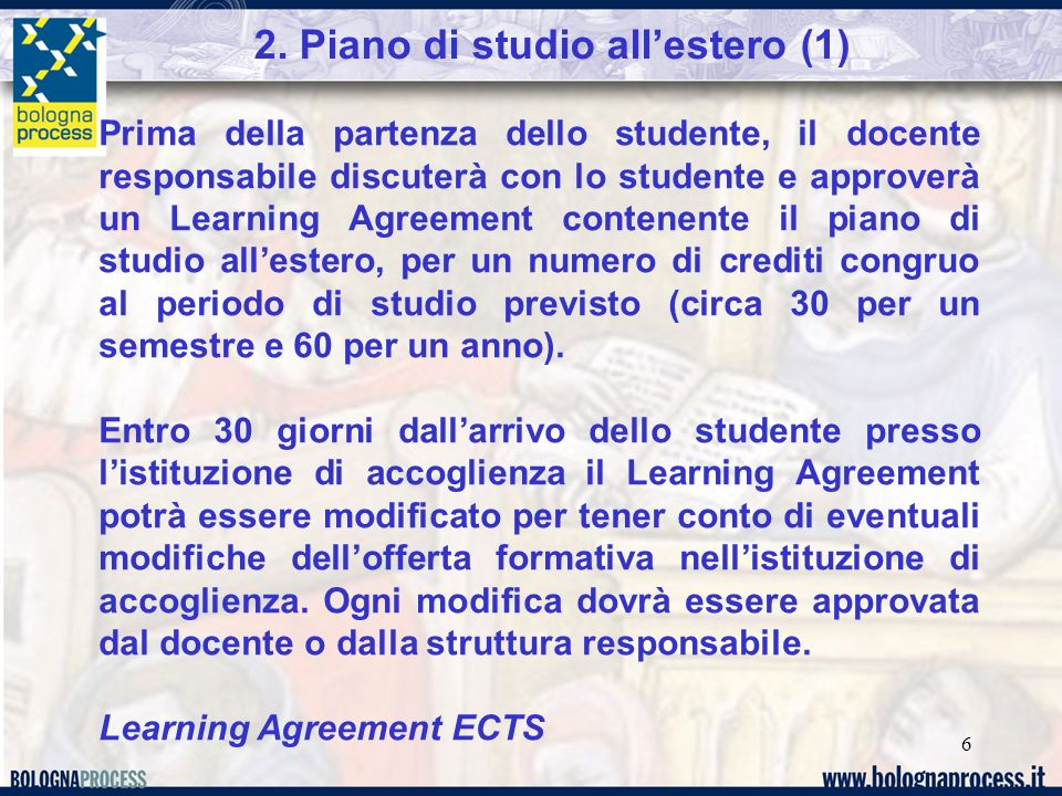 2. Piano di studio all'estero (1)
