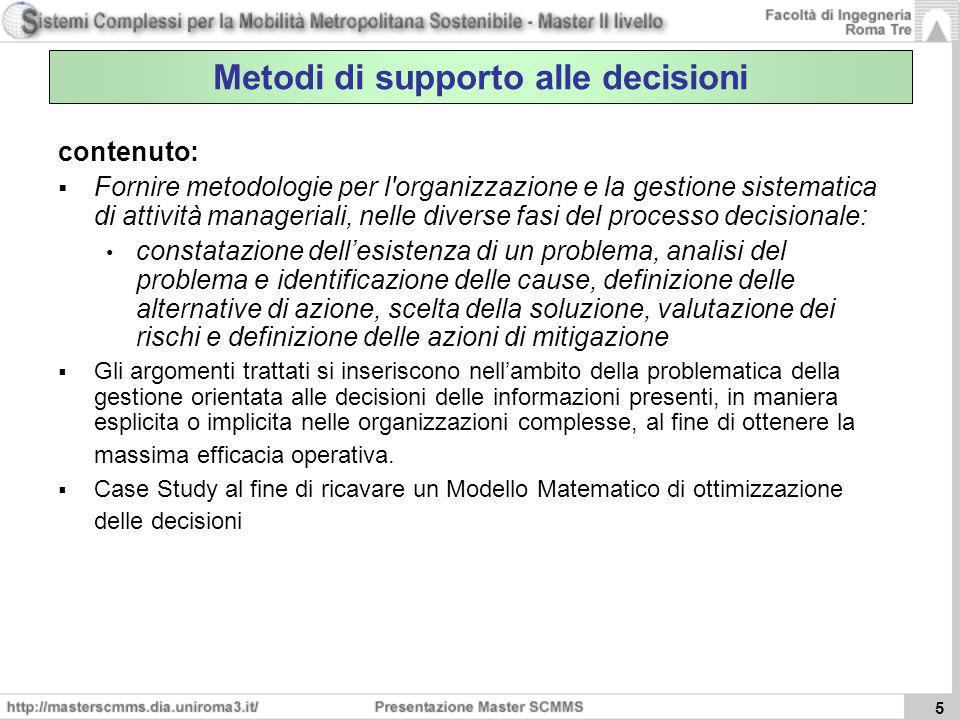 Metodi di supporto alle decisioni