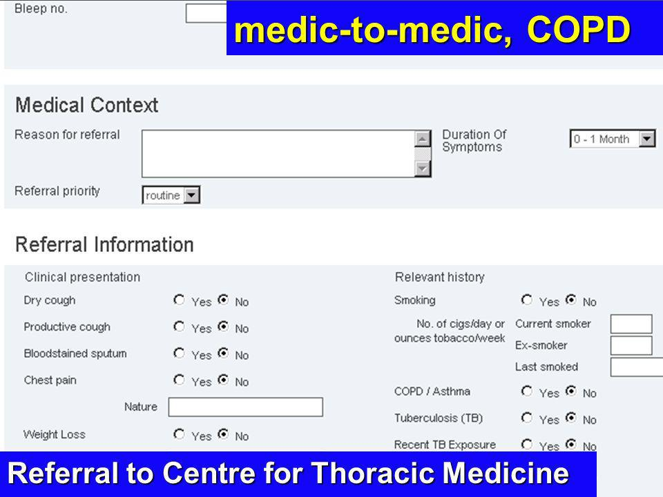 medic-to-medic, COPD Referral to Centre for Thoracic Medicine