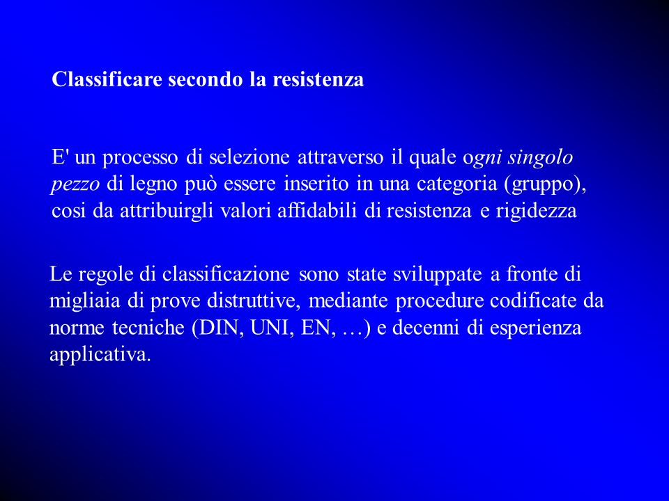Classificare secondo la resistenza