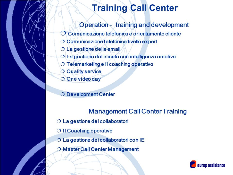 Operation - training and development Management Call Center Training