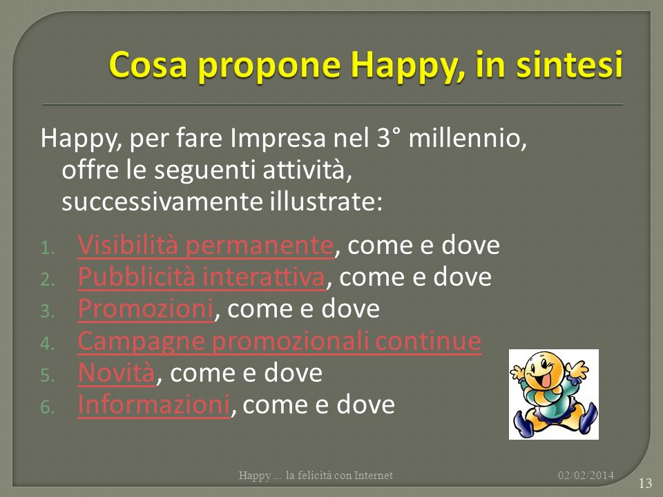Cosa propone Happy, in sintesi