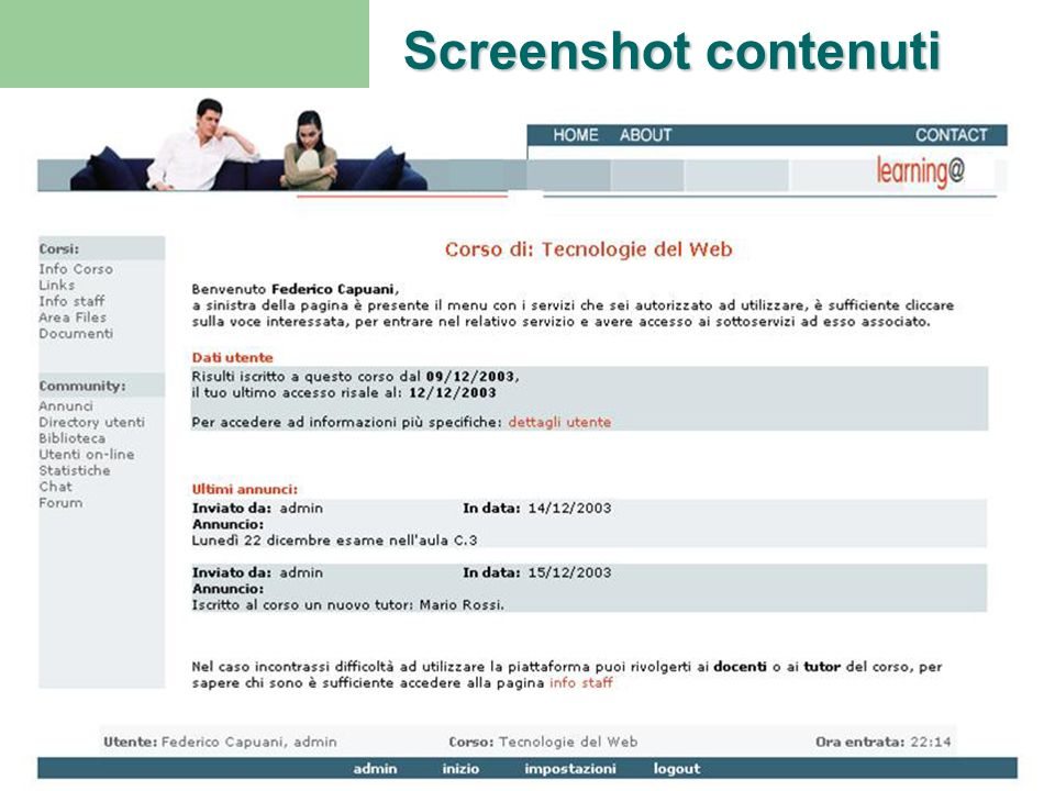 Screenshot contenuti