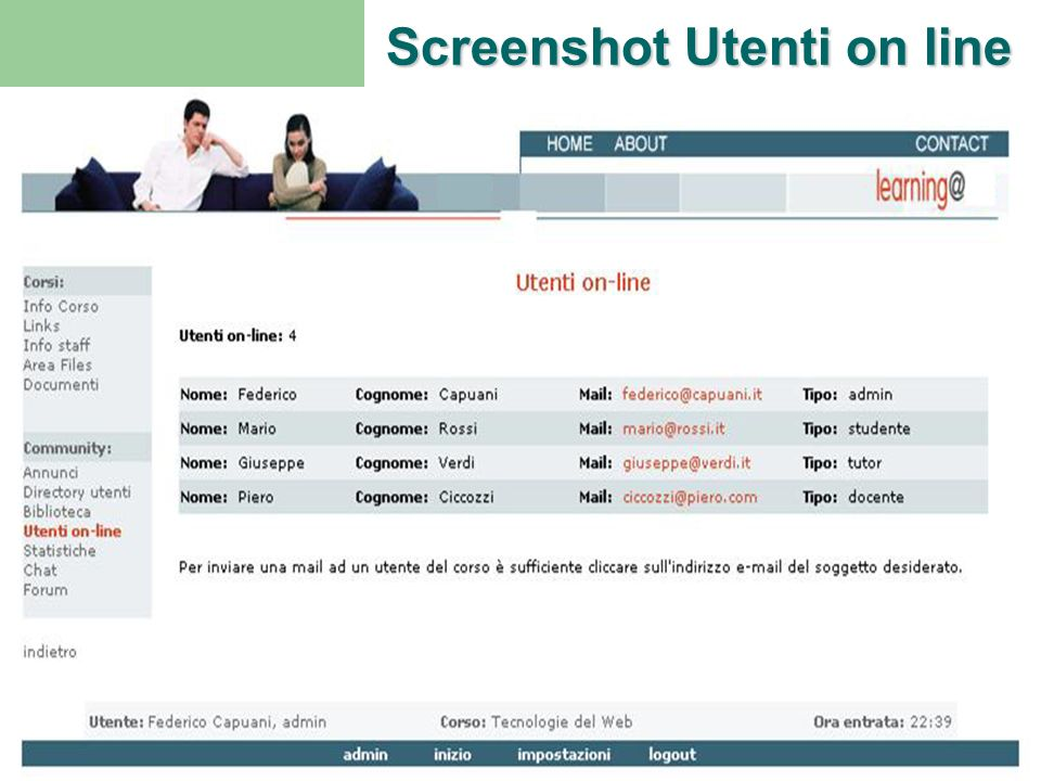 Screenshot Utenti on line