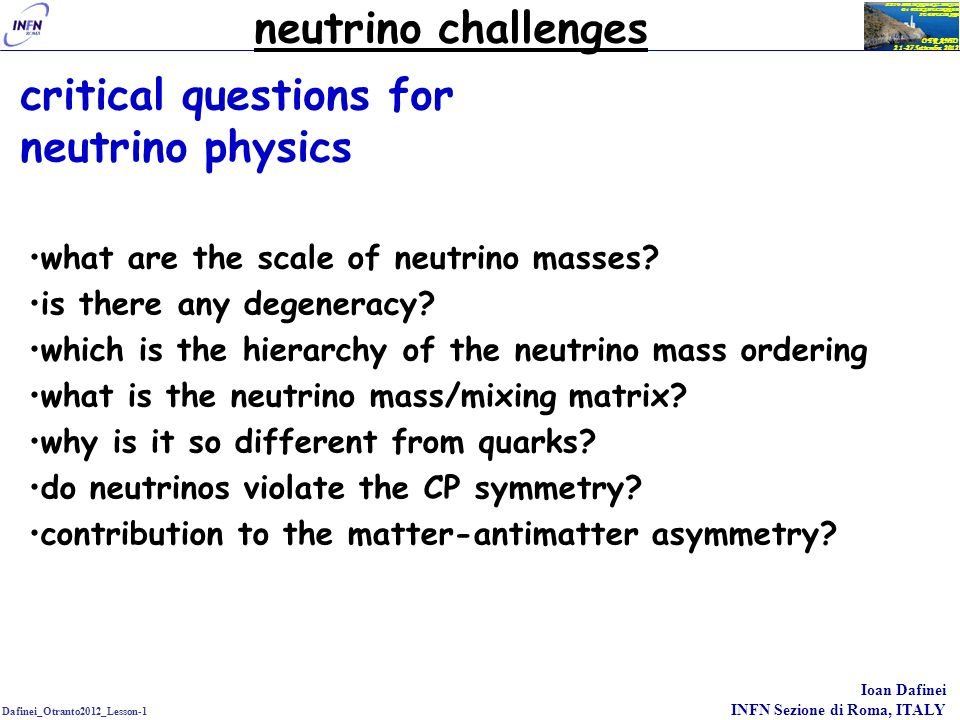 critical questions for neutrino physics