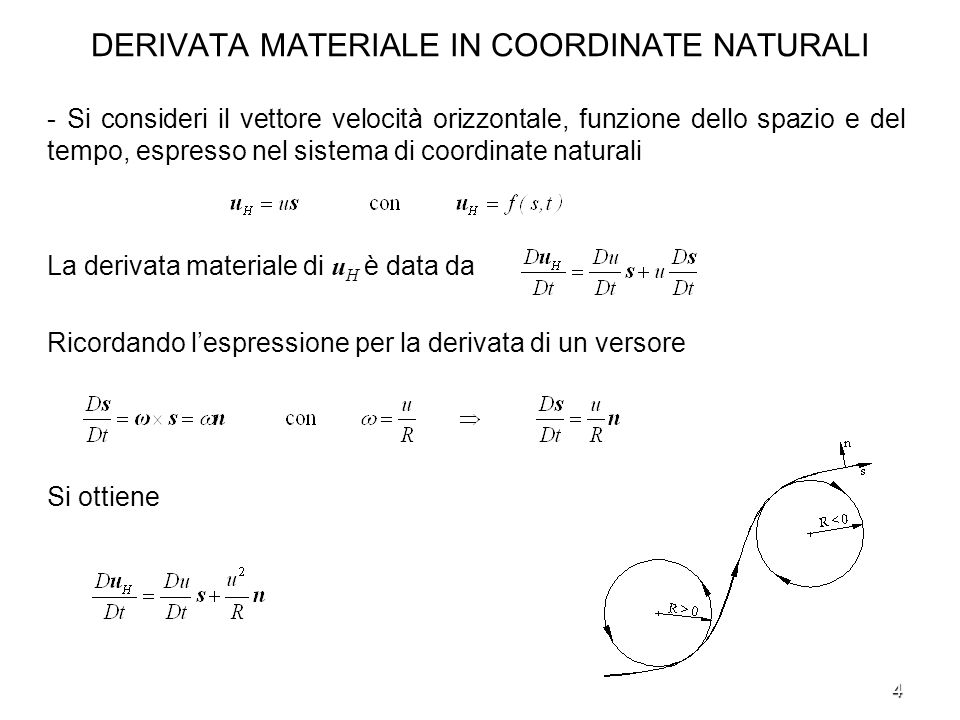 DERIVATA MATERIALE IN COORDINATE NATURALI