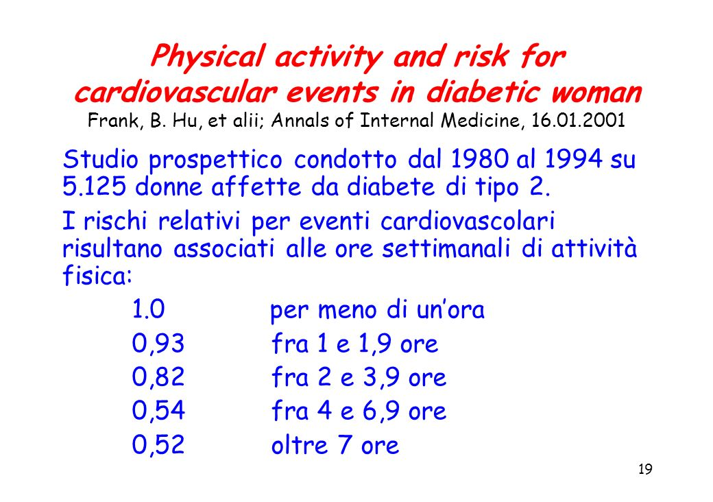 Physical activity and risk for cardiovascular events in diabetic woman Frank, B. Hu, et alii; Annals of Internal Medicine, 16.01.2001