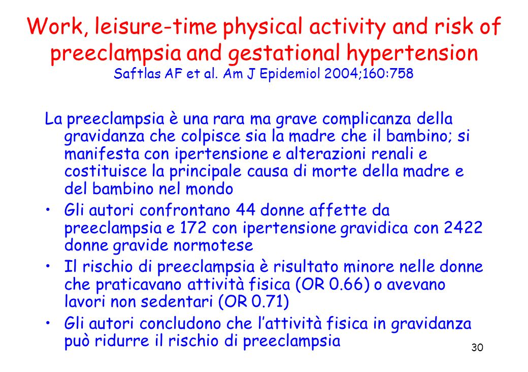 Work, leisure-time physical activity and risk of preeclampsia and gestational hypertension Saftlas AF et al. Am J Epidemiol 2004;160:758