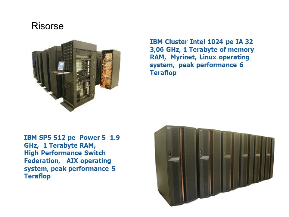 Risorse IBM Cluster Intel 1024 pe IA 32 3,06 GHz, 1 Terabyte of memory RAM, Myrinet, Linux operating system, peak performance 6 Teraflop.