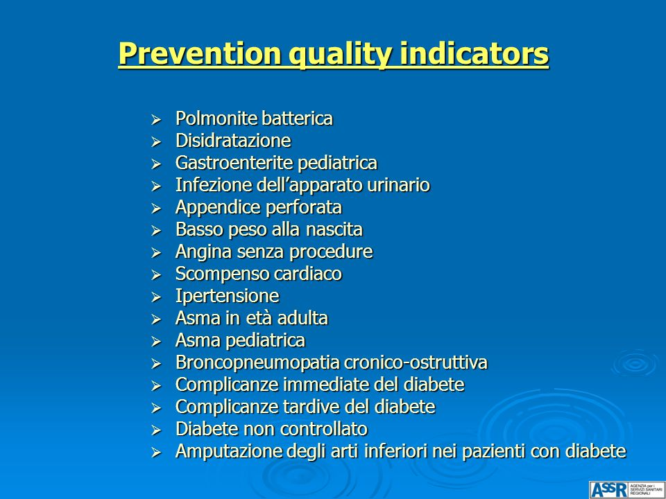 Prevention quality indicators