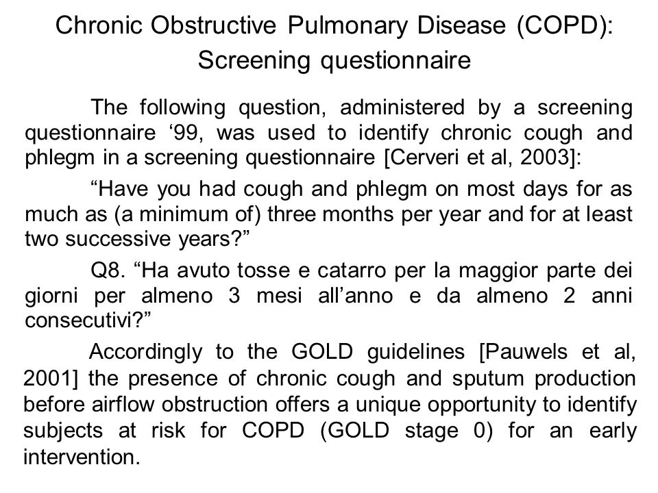 Chronic Obstructive Pulmonary Disease (COPD): Screening questionnaire