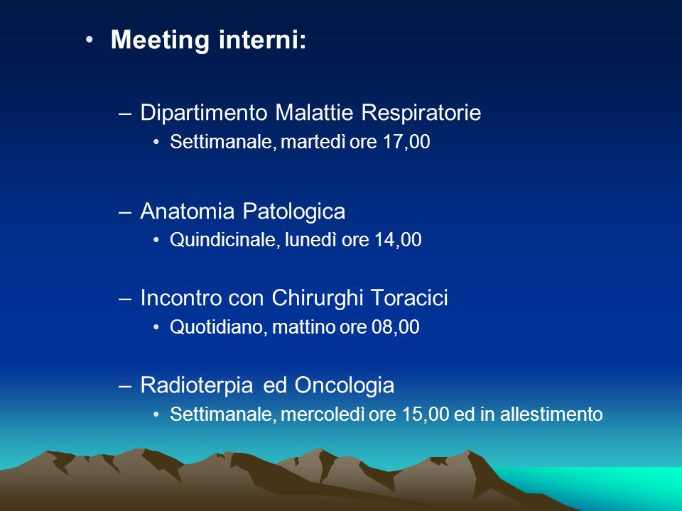 Meeting interni: Dipartimento Malattie Respiratorie