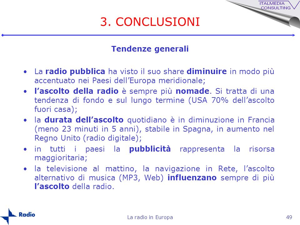 3. CONCLUSIONI Tendenze generali