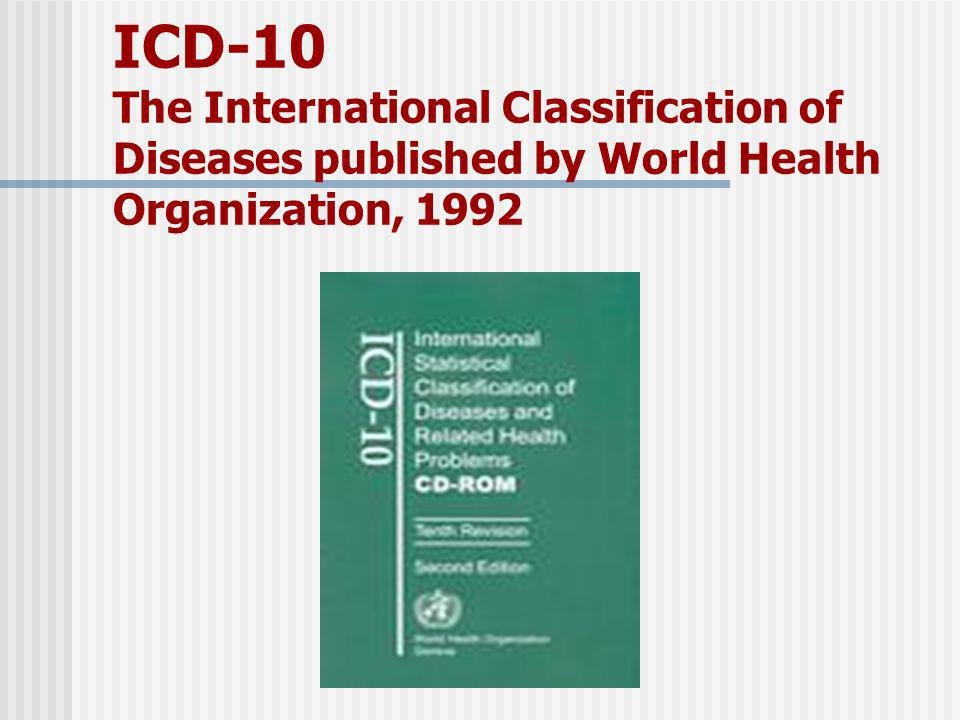 ICD-10 The International Classification of Diseases published by World Health Organization, 1992