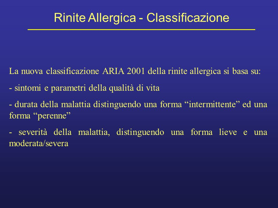 Rinite Allergica - Classificazione