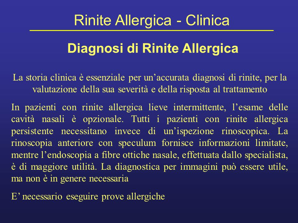 Diagnosi di Rinite Allergica