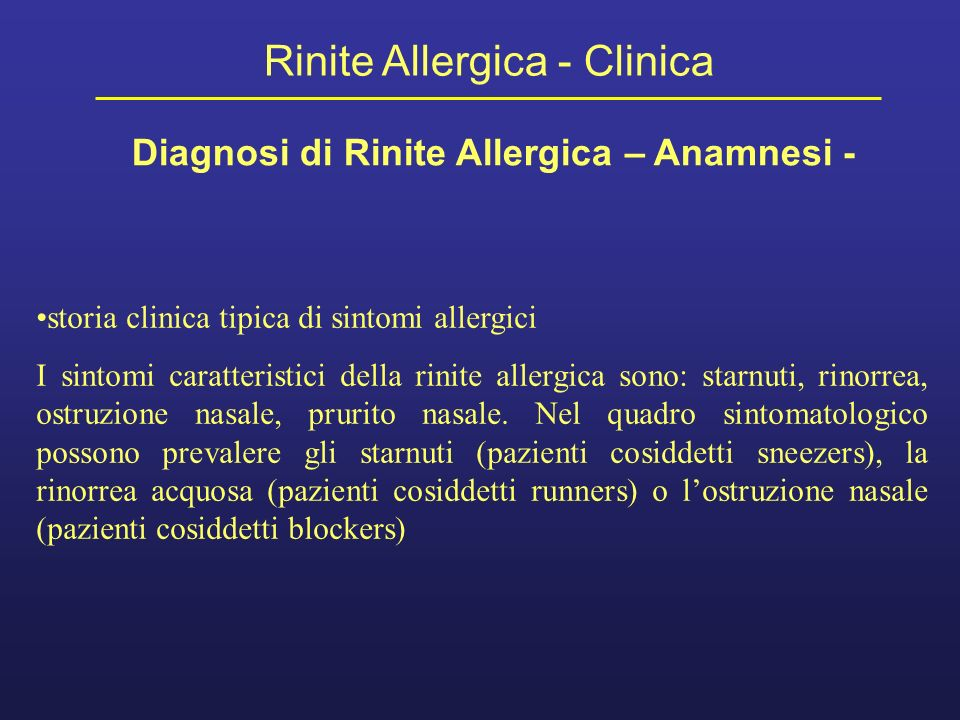 Diagnosi di Rinite Allergica – Anamnesi -