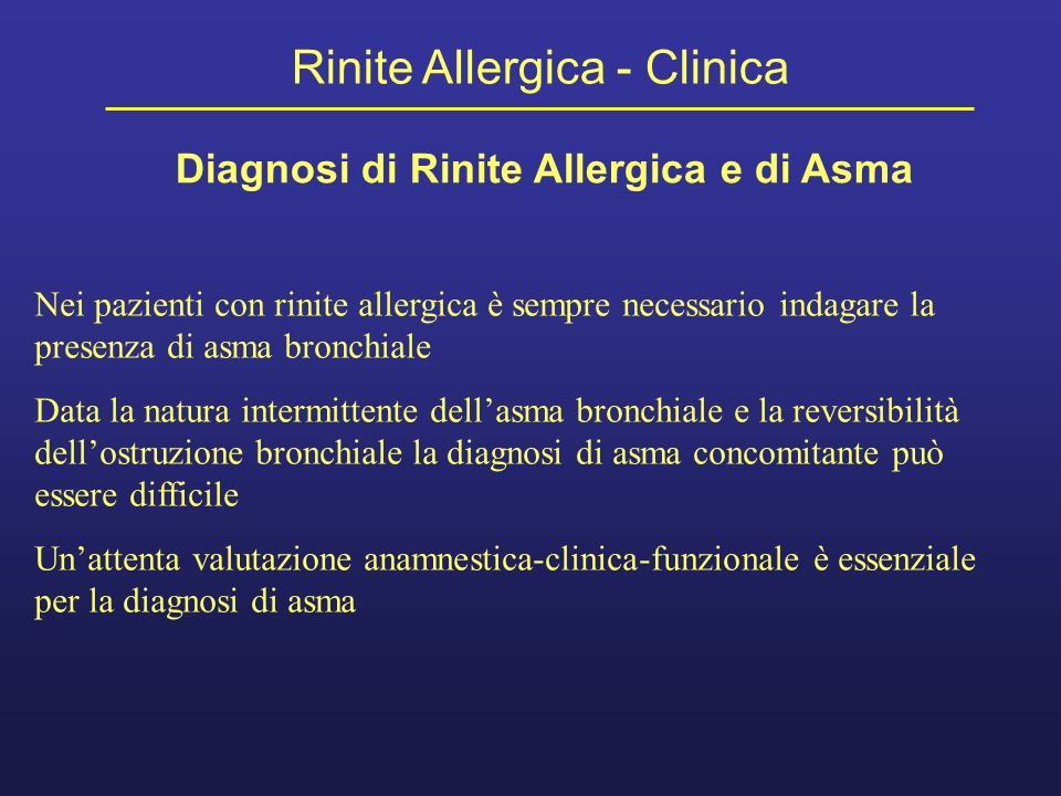Diagnosi di Rinite Allergica e di Asma