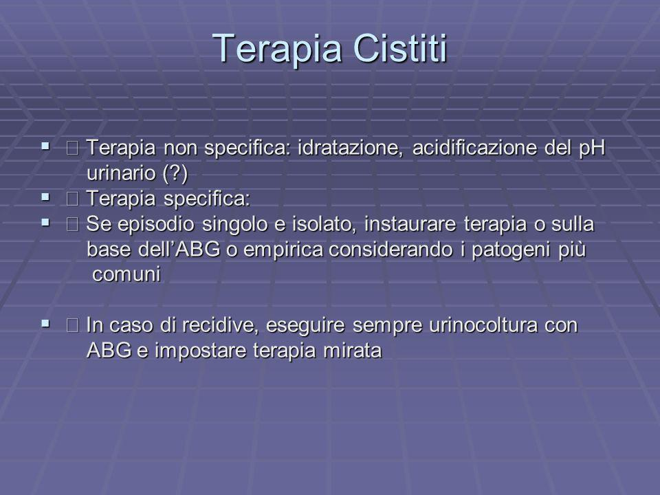 Terapia Cistiti  Terapia non specifica: idratazione, acidificazione del pH. urinario ( )  Terapia specifica:
