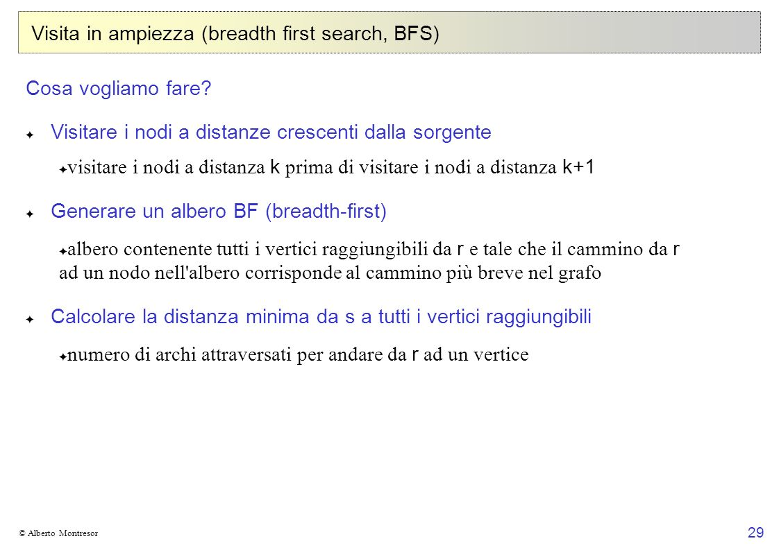Visita in ampiezza (breadth first search, BFS)