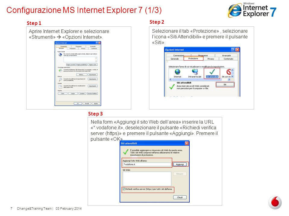 Configurazione MS Internet Explorer 7 (1/3)
