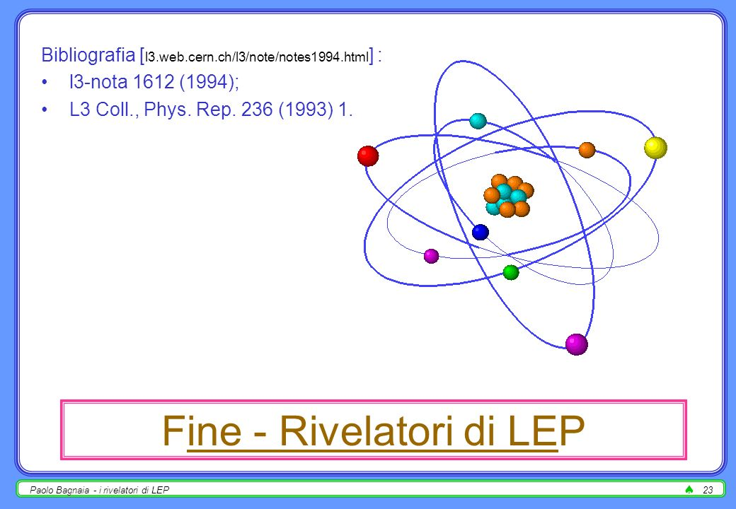 Fine - Rivelatori di LEP