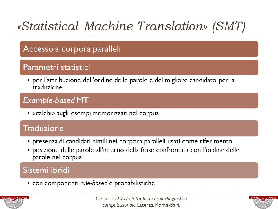 «Statistical Machine Translation» (SMT)