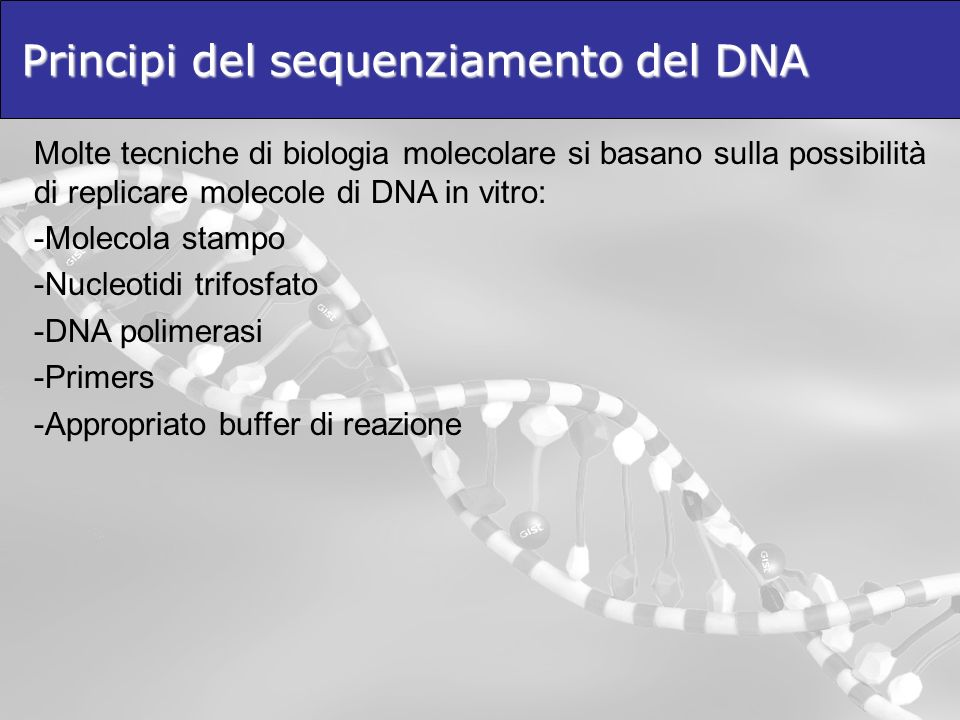Principi del sequenziamento del DNA
