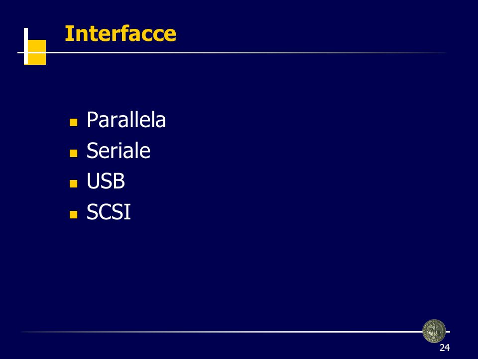 Interfacce Parallela Seriale USB SCSI